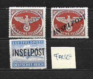 DR WKII Feldpost / 3 x Inselpost Aufdruckmarken - falsch