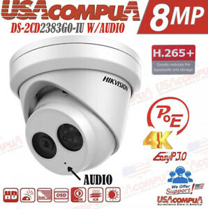 Hikvision 2MP 4MP  8MP POE IP H.265+ Network turret Camera H.265+ W/ AUDIO 2.8MM