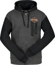 Harley-Davidson Men's Fly Shield Gray & Black Full Zip Sweatshirt Hoodie R003855