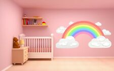 PASTEL RAINBOW and CLOUDS WALL STICKER children's bedroom nursery decal art