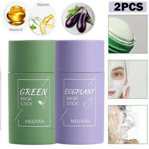 2pcs Green Tea Purifying Clay Stick Solid Mask Acne Blackhead Remover Cleansing.