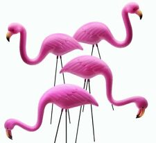 4 Pack Small Plastic Pink Flamingo Yard Outdoor Lawn Garden Decor Art Ornament