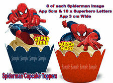 EDIBLE Marvel SUPERHERO Spiderman Comic WAFER Stand Up Birthday Cupcake Toppers