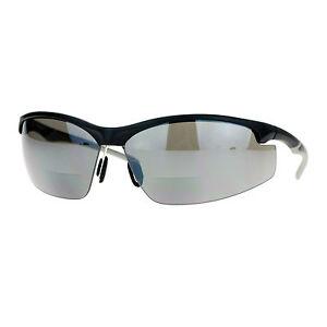 Bifocal Magnified Lens Sunglasses Black Half Rim Sports Wrap Frame UV 400