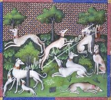 """Greyhound Dog Tile Art Piece """"Ancient Dogs I"""" - Stand or Hang 4-1/4"""" Square"""