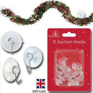 15x SMALL SUCTION CUP HOOKS Hanger Window Glass Hanging Christmas Decor T8245 UK