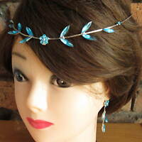 Silver Forehead Hair Headband Earring Rings Diamante Leaf Garland Wedding Bride