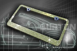 Bling 7 Rows Green AB Diamond METAL License Plate Frame+Caps-D4