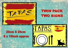 Vintage Style Spanish Tapas Signs Tapas Signs Old Style Signs  2 PACK