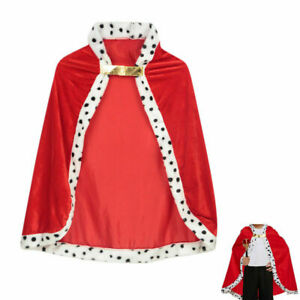 Childrens Kids Red Royal Robe King Fancy Dress Costume Boys Outfit Cloak