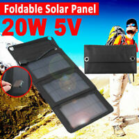 20W Folding Solar Panel USB Battery Charger Power Bank Outdoor Camping Hiking