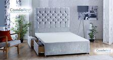 """Luxury Velvet Divan Bed + IBEX 54"""" height Headboard - 3ft/4ft/4ft6/5ft/6ft - UK"""