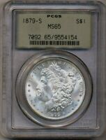 1879-S Morgan PCGS MS-65 OGH Bright Luster Silver Dollar Coin San Francisco Mint