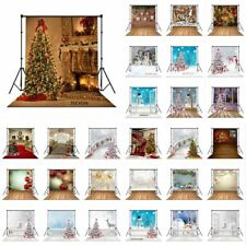 Christmas Tree Snowman Floor Polyester Studio Backdrop Photo Background Washable