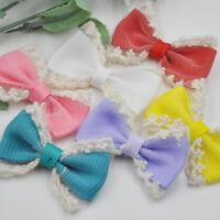 10/20/100PC Cute Trim Grosgrain Ribbon Bows Flowers Appliques Wedding Decor A248