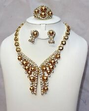 Gold Pearl Latest Style Gold Plated Rhinestones Wedding Bridal Party Jewelry Set