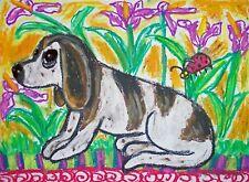 Basset Hound Ladybug Folk Art Print 8x10 Dog Collectible Kimberly Helgeson Sams