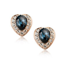 18K ROSE GOLD PLATED SAPPHIRE BLUE & CLEAR GENUINE CUBIC ZIRCONIA HEART EARRINGS