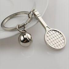 Schlüsselanh?nger Tennisschl?ger Tennisball Metall Farbe Silber 3D Sport GE