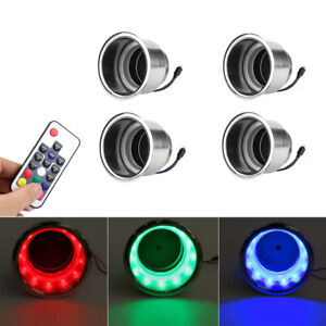 4x RGB LED Colorful Light Stainless Cup Holder w/ Remote Car Camper Boat Yacht
