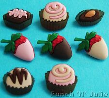 DEATH BY CHOCOLATE - Cake Cupcake Strawberry Sweets Dress It Up Craft Buttons