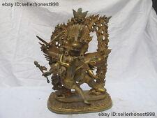 Tibet Buddhism Hayagriva Yab-Yum Buddha Bronze Copper Gilt Mahakala Statue