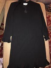 Albert Nipon 2-piece Dress Suit With Jacket Black Formal Career Size 12 (NS)