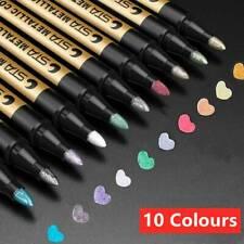 Waterproof Metallic Paint Silver Marker Pens Sheen Glitter Arts DIY Kit 10Pcs/