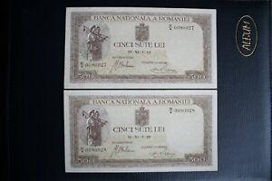 1940 ROMANIA 500 Lei  2 UNC Consecutive