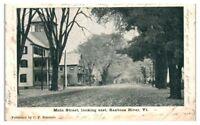 1907 Main Street looking East, Saxtons River, VT Postcard