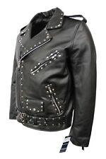 New Men's Studds Brando Deluxe Black Cowhide Leather Classic Biker Style Jacket