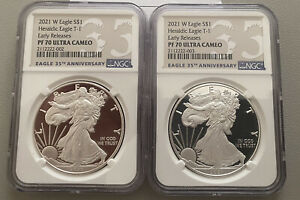2021 W $1 AMERICAN PROOF SILVER EAGLE NGC PF70 EARLY RELEASE 35TH