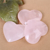 1PC Natural Carved Gemstone Rose Quartz Crystal Polish Heart shaped Paperweight