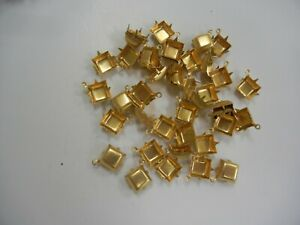 18 1-loop closed back square shape settings for 10mm #4400,#4447,polished brass