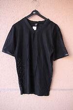Schwarzes Stretch-Netzsshirt mit V-Ausschnitt, Größe L