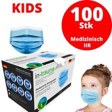 100 Medizinische Kinder Masken OP Maske Mundschutz Atemschutz EN14683 BLAU