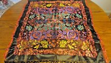 Very Ornate Black Background, Electric Colored Floral Tablecloth-Fringed Edge