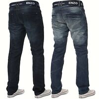 Enzo Mens Straight Leg Jeans Regular Fit Denim Pants Big King All Waist Sizes