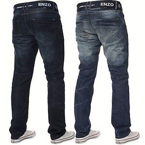 Enzo Mens Straight Leg Jeans Regular Fit Denim Pants Big King All Waist Sizes