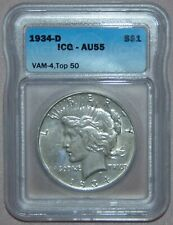 """1934 D Peace Silver Dollar, ICG AU55 ~ VAM-4 Top 50, Double Die Obv, SMALL """"D"""""""