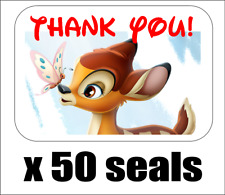 """50 Bambi Thank You Envelope Seals / Labels / Stickers, 1"""" x 1.5"""""""