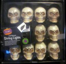 Indoor Halloween 10 Skull LED Musical Lights New
