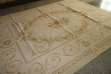 Chic Shabby Beautiful French Rose Medallion Handmade Aubusson Rug