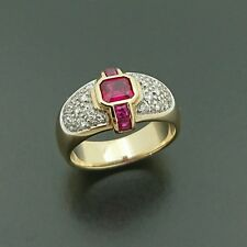 Brand new 9ct yellow gold dress ring with Created ruby and Natural diamonds