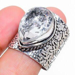 White Topaz Gemstone Handmade 925 Sterling Silver Jewelry Ring Size 8 C297