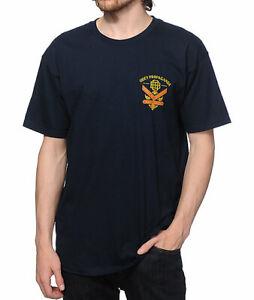 OBEY Premier En Dissent Hommes 100% Coton Basique T-Shirt M Marine Neuf