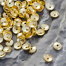 925 STERLING SILVER Gold Plated ROUND SMOOTH BEAD CAPS 4mm Jewelry Findings _218
