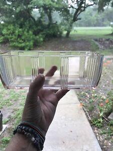 ANTIQUE DEPRESSION GLASS REFRIGERATOR DISH CRISS CROSS HAZEL ATLAS No Lid 4x8