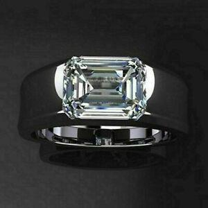 14k White Gold Over 2.00 Ct Emerald Cut Diamond Engagement Wedding Men's Ring