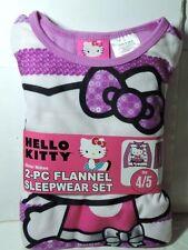 Newest Purple New Hello Kitty  2 piece Flannel Pajamas Sleepwear Set Size 4/5